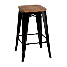Metropolis Backless Counter Stool Wood Seat, Black