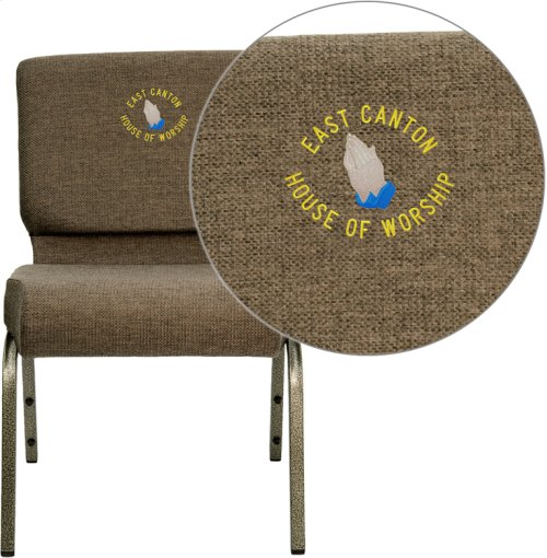 Embroidered HERCULES Series 21''W Stacking Church Chair in Brown Fabric - Gold Vein Frame