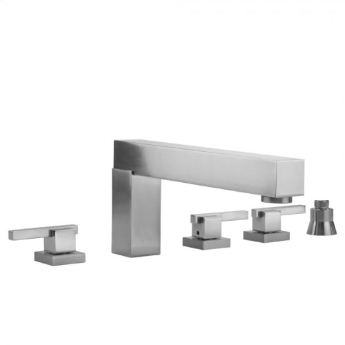 Satin Brass - CUBIX® Roman Tub Set with CUBIX® Lever Handles and Straight Handshower Holder