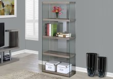 "BOOKCASE - 60""H / DARK TAUPE WITH TEMPERED GLASS"