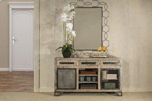 Bridgewater 2 Door Cabinet With 1 Wire Door, 1 Solid Door - Brushed Tan Wood