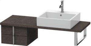 Vero Low Cabinet For Console Compact, Brushed Dark Oak (real Wood Veneer)