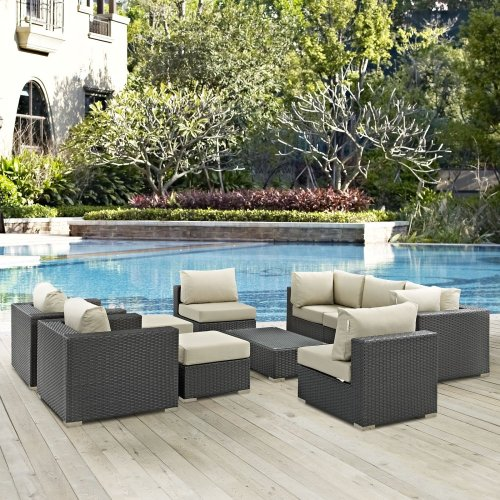 Sojourn 10 Piece Outdoor Patio Sunbrella® Sectional Set in Canvas Antique Beige