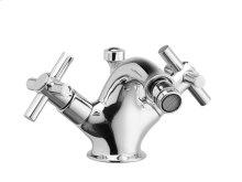 Single Hole Bidet Tubular Cross Handles - Polished Brass
