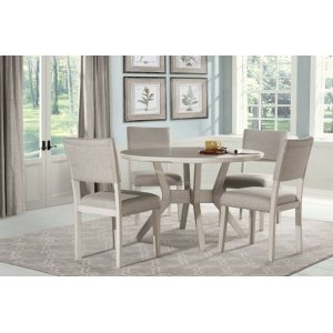Hillsdale FurnitureElder Park 5-piece Round Dining Set - White Sands With Oatmeal Fabric