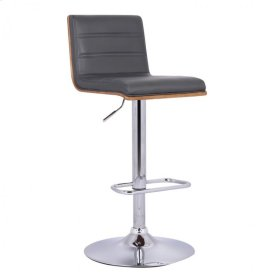 Armen Living Aubrey Barstool Chrome Base finish with Gray Pu upholstery and Walnut back