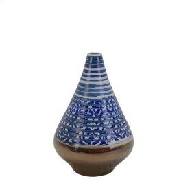 """Ceramic Vase W/bronze Bottom 10.5"""", Multi"""