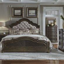 Opt Queen Uph Bed, Dresser & Mirror, Chest, NS