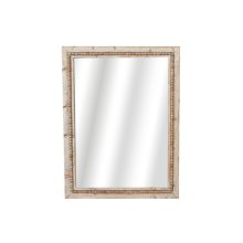 Whitewash Beaded Rectangle Wall Mirror.