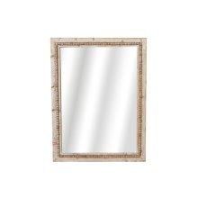 Whitewash Beaded Rectangle Wall Mirror.