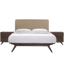 Tracy 3 Piece Queen Upholstered Fabric Wood Bedroom Set in Cappuccino Latte