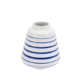 "Ceramic Striped Vase 6.5"", White/blue"