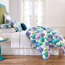 Hydrangea Duvet Cover & Shams, BLUE, STAND