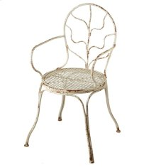 Distressed Ivory Arm Chair