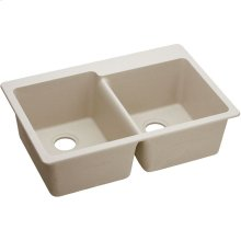 "Elkay Quartz Classic 33"" x 22"" x 9-1/2"", Offset Double Bowl Drop-in Sink, Putty"
