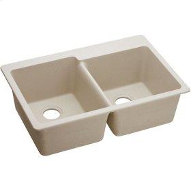 "Elkay Quartz Classic 33"" x 22"" x 9-1/2"", Offset Double Bowl Drop-in Sink, Putty"