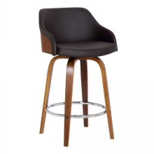 """Alec Contemporary 30"""" Bar Height Swivel Barstool in Walnut Wood Finish and Brown Faux Leather"""
