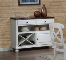 Sunset Trading Andrews Server in Antique White with Warm Chestnut Top - Sunset Trading