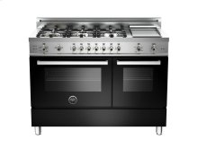48 6-Burner + Griddle, Gas Double Oven Black