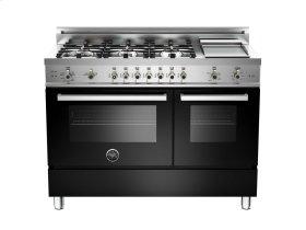 48 6-Burner + Griddle, Gas Double Oven Black
