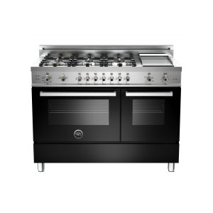 Bertazzoni48 6-Burner + Griddle, Gas Double Oven Black