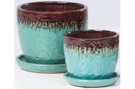 Brown/Blue Fondre Petits Pots with Attached Saucer - Set of 2