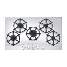 """Stainless Steel/White Glass 36"""" Gas Cooktop - DGCU (36"""" wide, five burners)"""