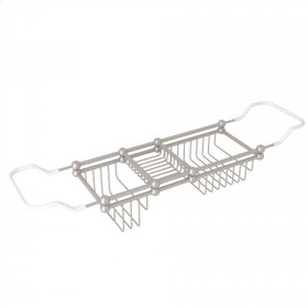 "Satin Nickel Perrin & Rowe Edwardian 28-32"" Bath Rack"