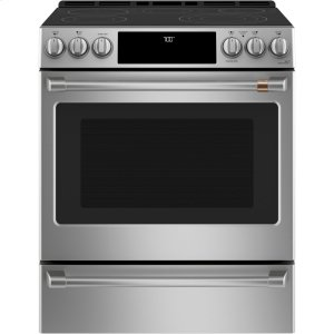 "Cafe Appliances30"" Slide-In Front Control Radiant and Convection Range with Warming Drawer"