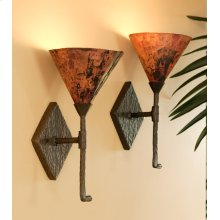 Cedarvale Iron Single Wall Sconce with Copper Shade