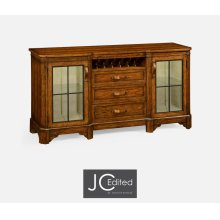 Plank Country Walnut Low Cabinet & Wine Rack with Strap Handles
