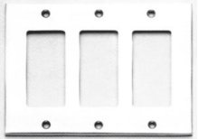 Triple Rocker Modern Switchplate - Solid Brass in US15 (Satin Nickel Plated, Lacquered)