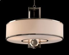 Polished Nickel and Crystal Sphere Chandelier