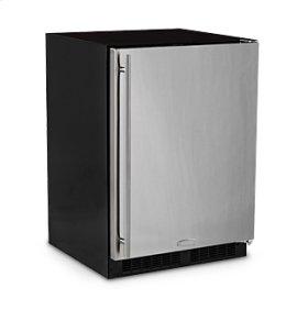 "24"" Refrigerator Freezer with Drawer Storage  Marvel Refrigeration - Smooth Black Door - Left Hinge"