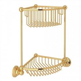 English Gold Perrin & Rowe Edwardian Wall Mount Two-Tier Corner Basket