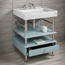 Ventus Bath Sink With Storage Carrara Marble / 36in / Polished Nickel