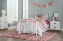 Maddie Twin Bed Set With Rails - Glossy White