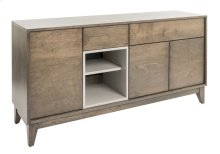 """Birch Veneer Buffet / 2 Doors With 1 Adjustable Wood Shelf Inside / 1 Door With 1 Adjustable Wood Shelf Inside / 2 Drawers """"quadro"""" Slides. Open Space With 1 Adjustable Wood Shelf Inside."""