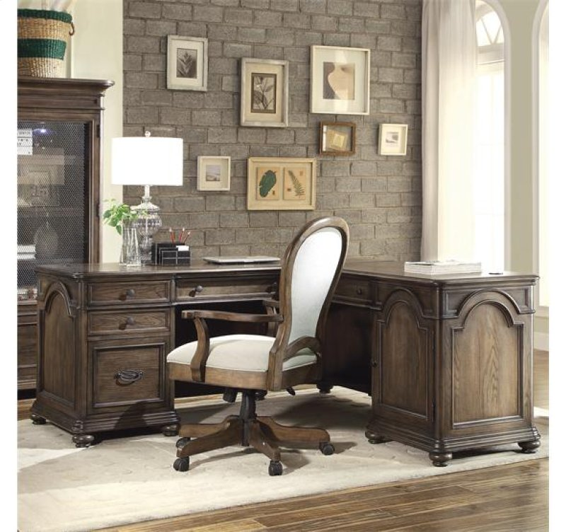 Belmeade L Desk Return Old World Oak Finish