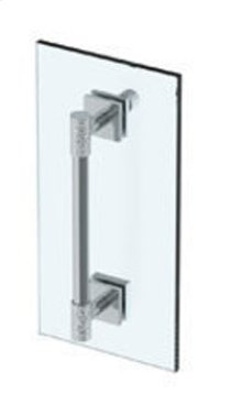"""Sense 12"""" Shower Door Pull With Knob / Glass Mount Towel Bar With Hook"""