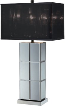 Table Lamp, Mirror Body/black Shade, E27 Cfl 23w