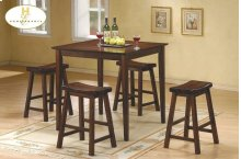 5PC Pack Dinette Set Warm Cherry Finish