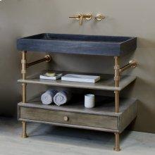 Ventus Bath Sink With Storage Antique Gray Limestone / 36in / Polished Nickel