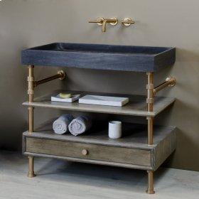 Ventus Bath Sink With Storage Antique Gray Limestone / 24in / Polished Nickel