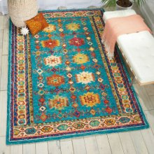 Vibrant Vib09 Teal Rectangle Rug 4' X 6'