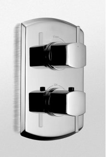 Polished Chrome Soirèe® Thermostatic Mixing Valve Trim with Single Volume Control and Lever Handles