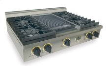 "36"" Gas Cooktop, Sealed Burners, Stainless Steel with Brass"