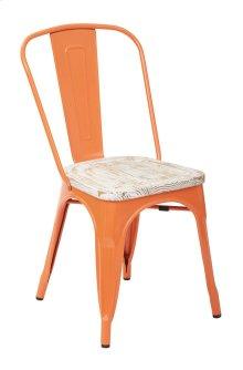 Bristow Metal Chair With Vintage Wood Seat, Orange Frame & Pine White Finish Seat, 4 Pack