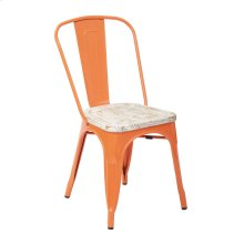 Bristow Metal Chair With Vintage Wood Seat, Orange Frame & Pine White Finish Seat, 4 Pack