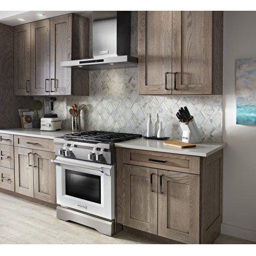 30'' 4-Burner Dual Fuel Freestanding Range, Commercial-Style - Imperial White